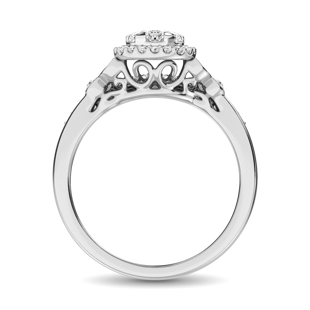 10K White Gold 1/2 Ctw Diamond Bridal Ring