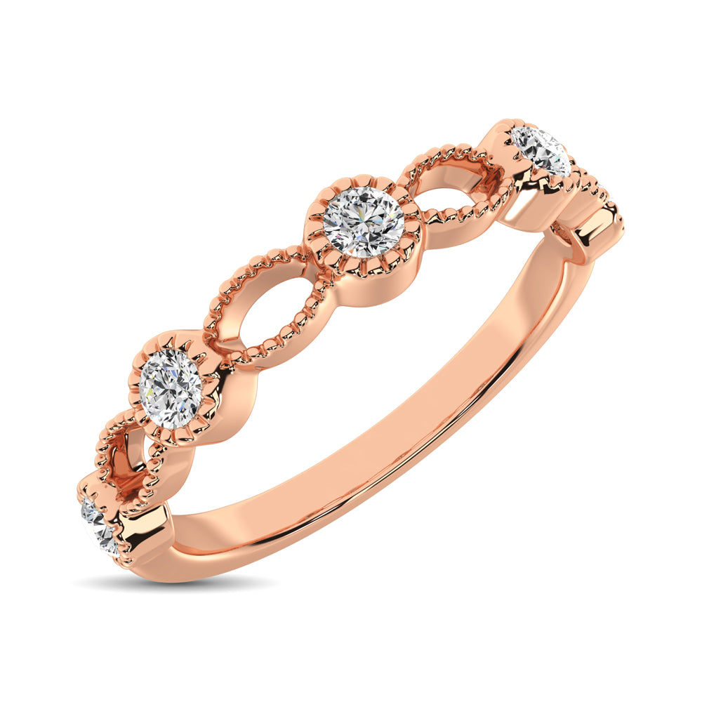 14K Rose Gold 1/6 Ctw Diamond Band