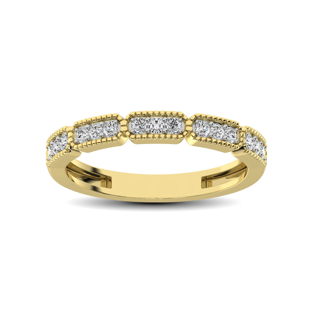 14K Yellow Gold 1/5 Ctw Diamond Band