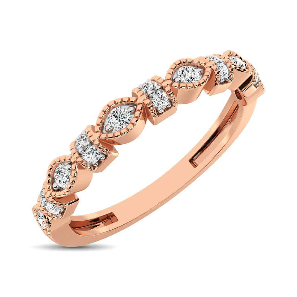 14K Rose Gold Marquise Frame 1/6 Ctw Diamond Band