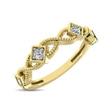 14K Yellow Gold 1/8 Ctw Diamond Band