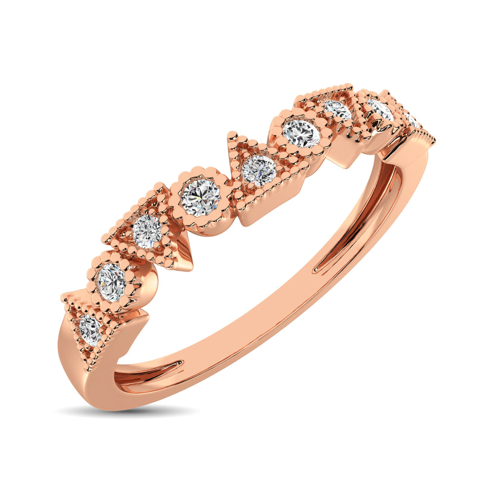 Trigale and Round Shape Diamond 1/10 ctw Band Ring in 14K Rose Gold