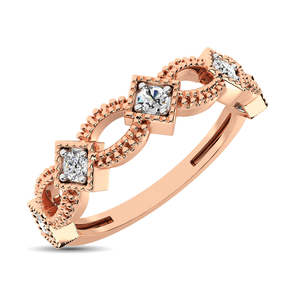14K Rose Gold 1/6 Ctw Diamond Stackable Band