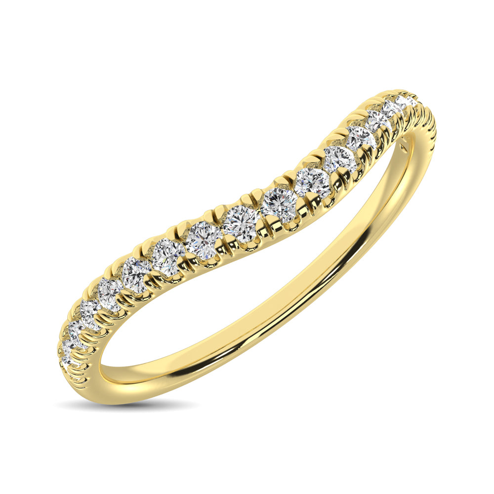 14K Yellow Gold 1/6 ctw Contour Band Ring