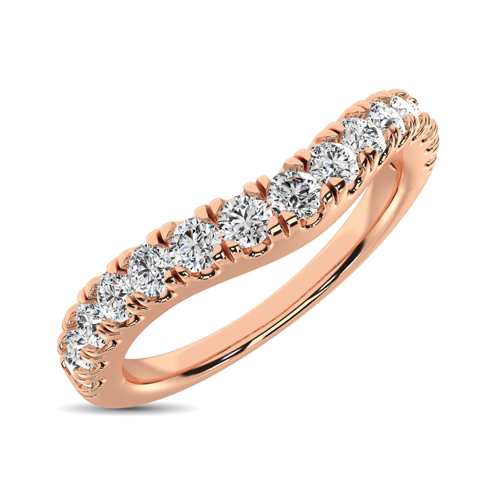 14K Rose Gold 1/2 Ct.Tw. Diamond Curve Band