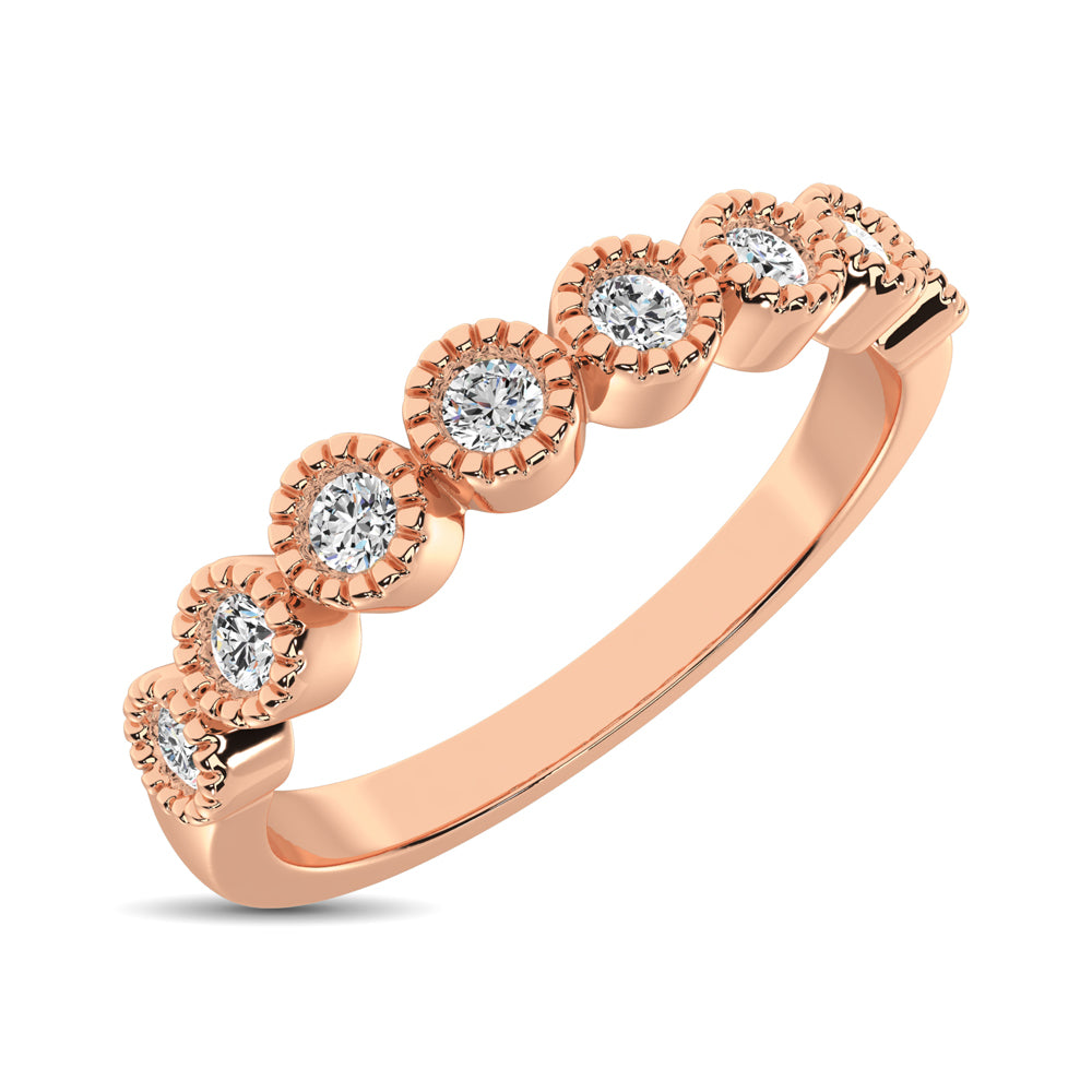 Diamond 1/4 Ctw Stackable Bezel Band with Beaded Setting in 14K Rose Gold