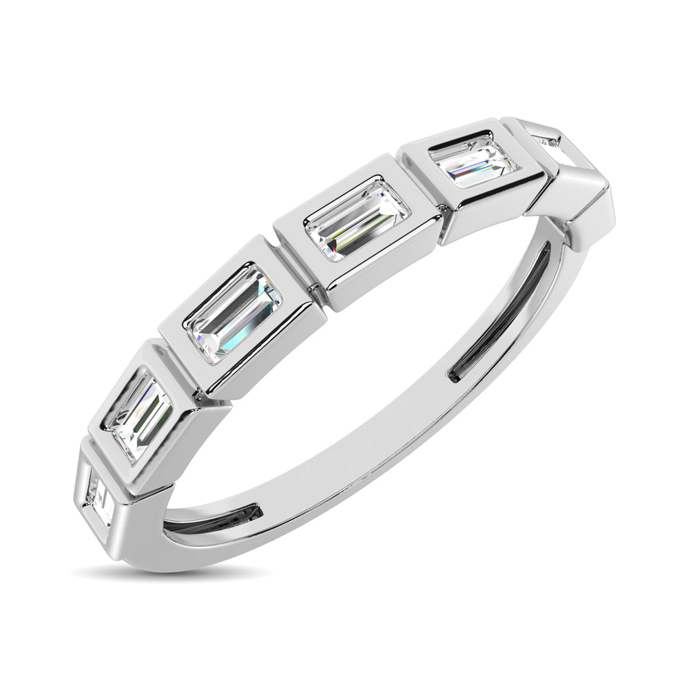 14K White Gold 1/4 Ct.Tw. Diamond Straight Buggete Stackable Band