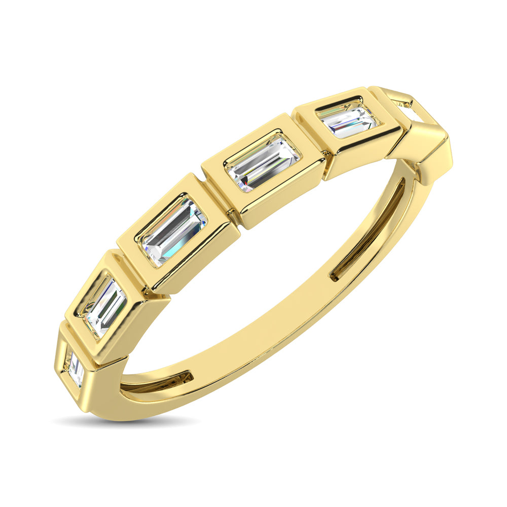 14K Yellow Gold 1/4 Ct.Tw. Diamond Straight Buggete Stackable Band