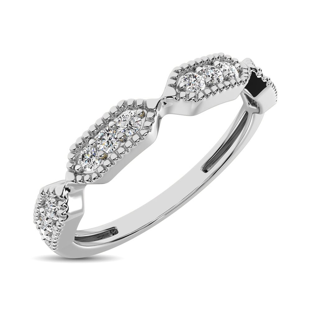 Beaded Style Band set with 1/6 Ctw Diamond in 14K White Gold