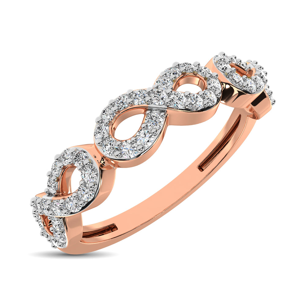 14K Rose Gold 1/4 Ct.Tw. Diamond Open Frame Stackable Band