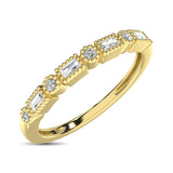 14K Yellow Gold 1/10 Ctw Round and Tapper Diamond Band Ring