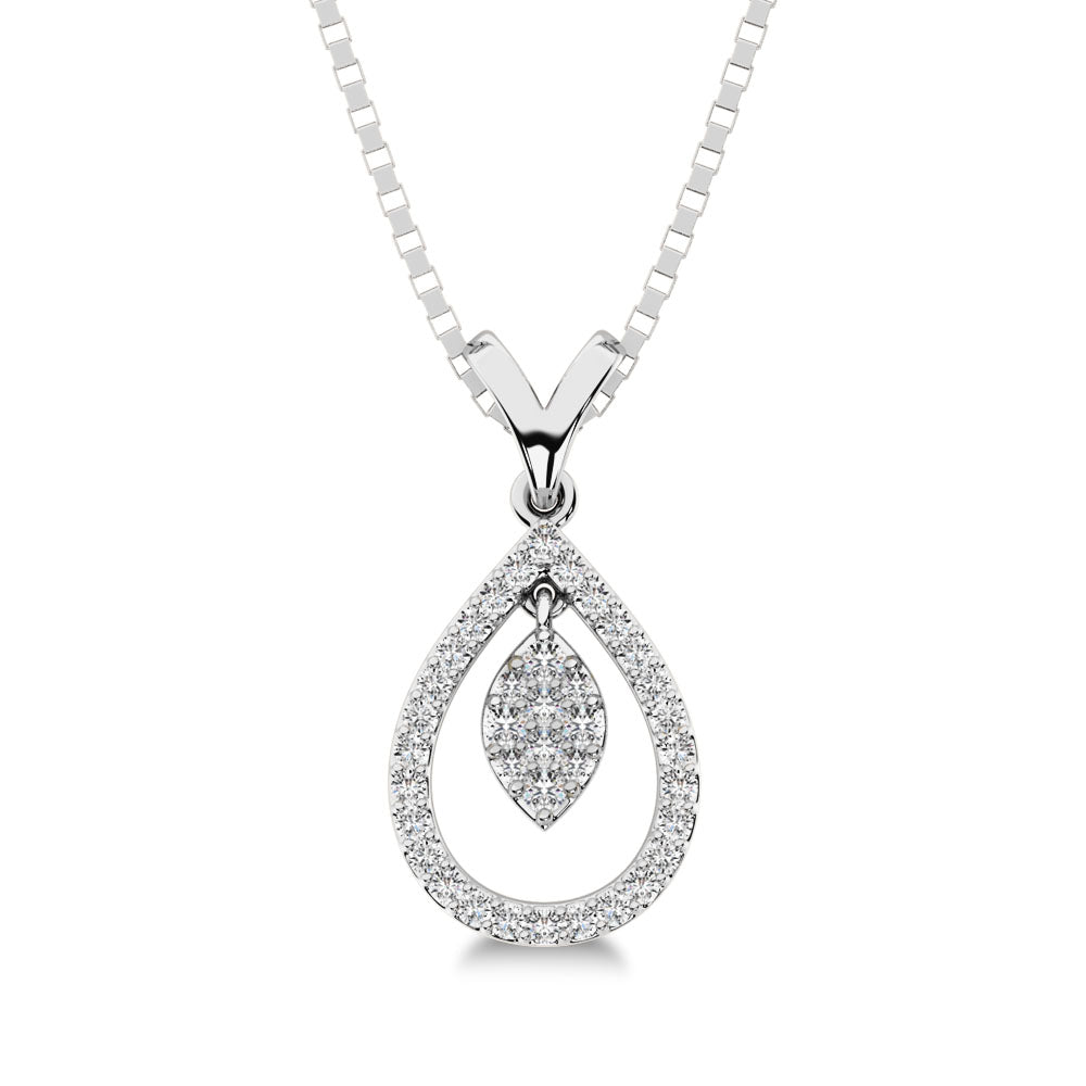 10K White Gold 1/5 Ct.Tw. Diamond Pear Shape Pendant with Dangler