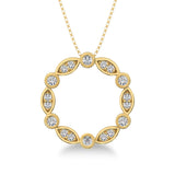 10K Yellow Gold 1/4 Ct.Tw. Diamond Round & Marquise Frame Pendant