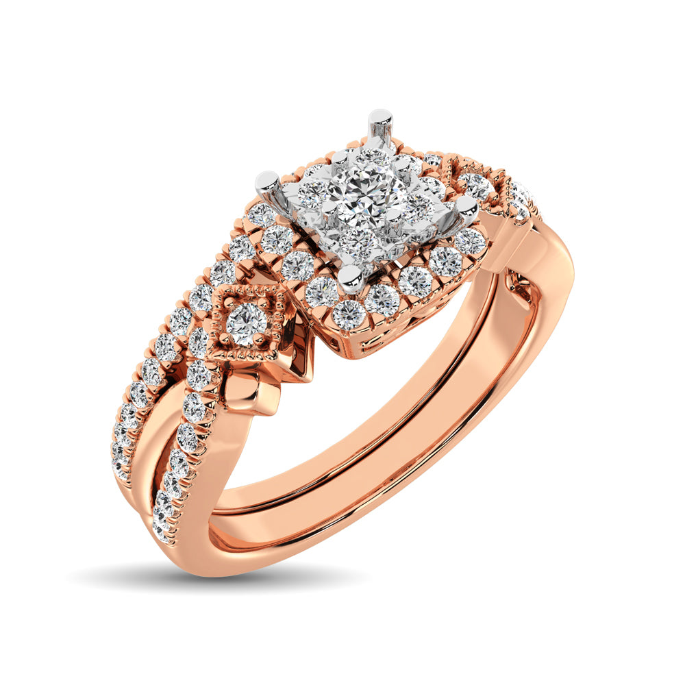 10K Rose Gold 2/5 Ct.Tw. Diamond Bridal Ring
