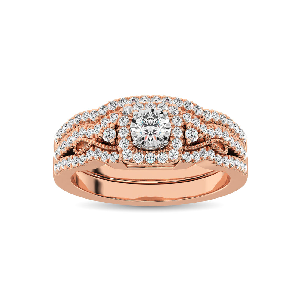 10K Rose Gold 1/2 Ct.Tw. Diamond Bridal Ring