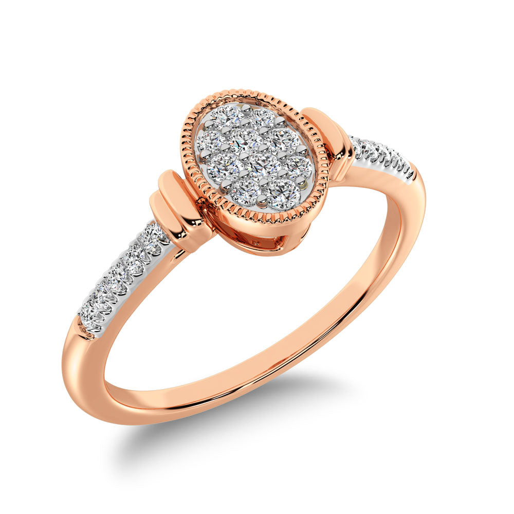 10K Rose Gold 1/8 Ct.Tw. Diamond Oval Shape Ring