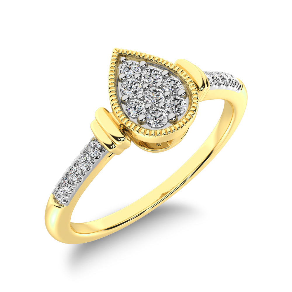 10K Yellow Gold 1/8 Ct.Tw. Diamond Pear Shape Ring