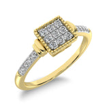 10K Yellow Gold 1/6 Ct.Tw. Diamond Square Shape Ring