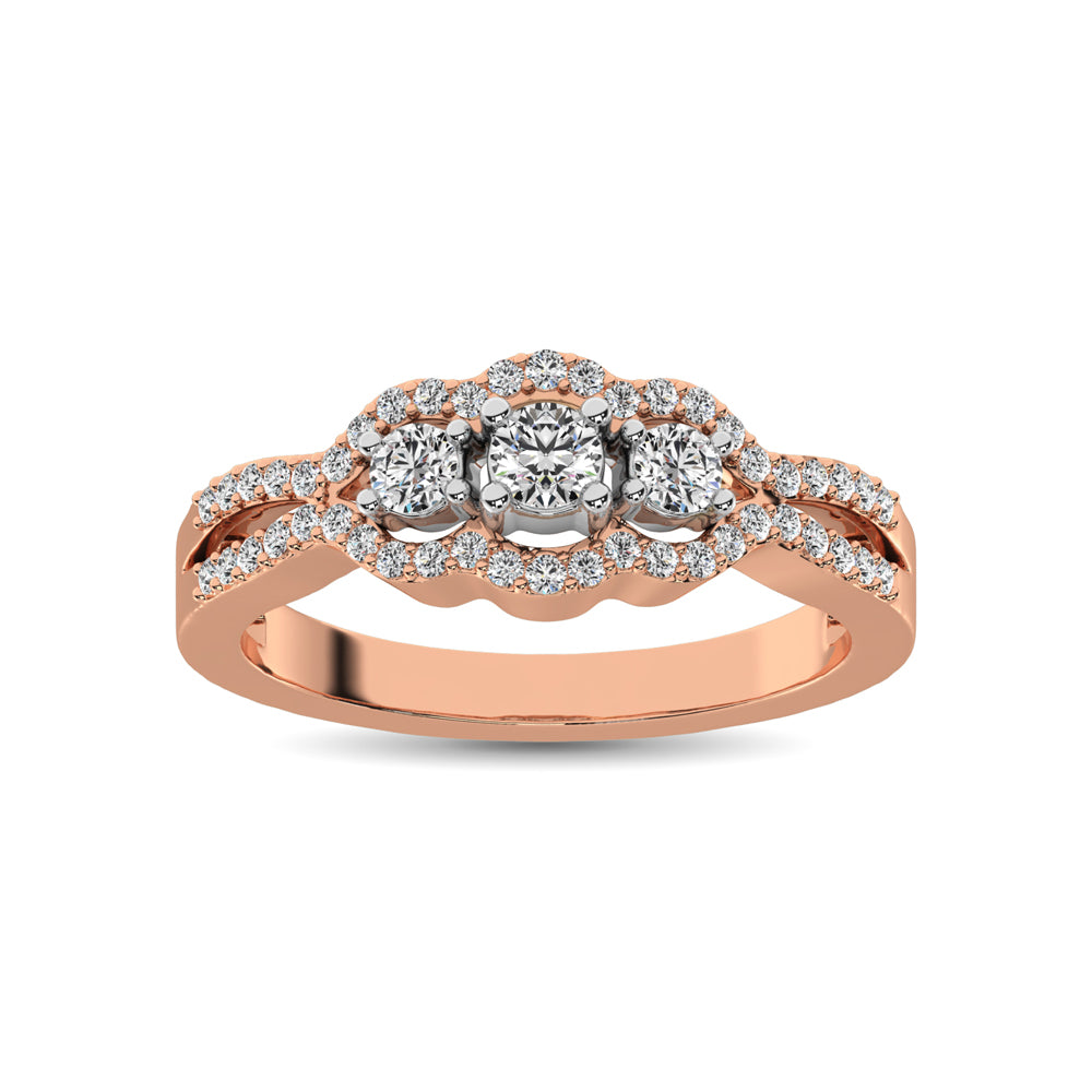 14K Rose Gold 1/2 Ct.Tw. Diamond Engagement Ring