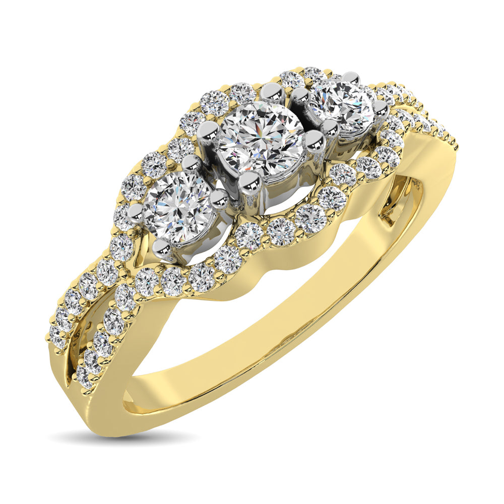 14K Yellow Gold 1/2 Ct.Tw. Diamond Engagement Ring