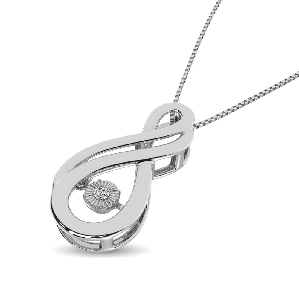 Sterling Silver Moving Diamond Accent Infinity Pendant