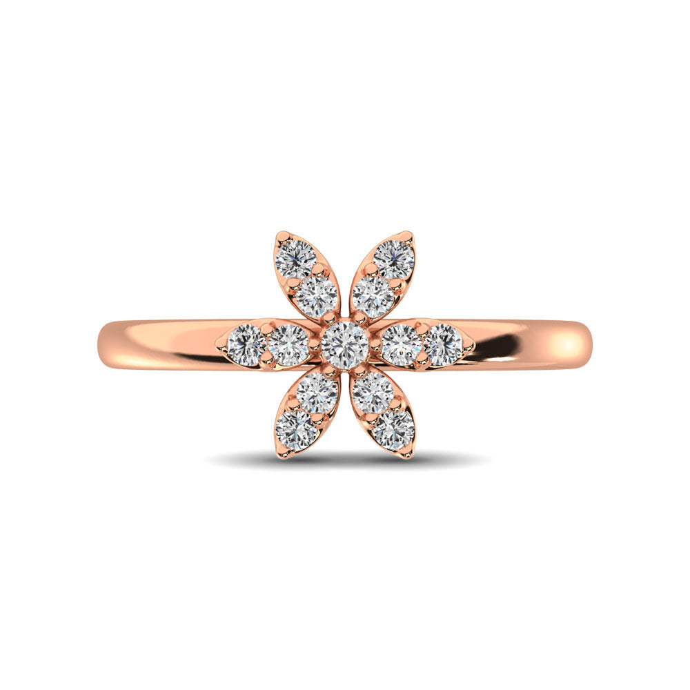 10K Rose Gold 1/4 Ctw Diamond Flower Ring