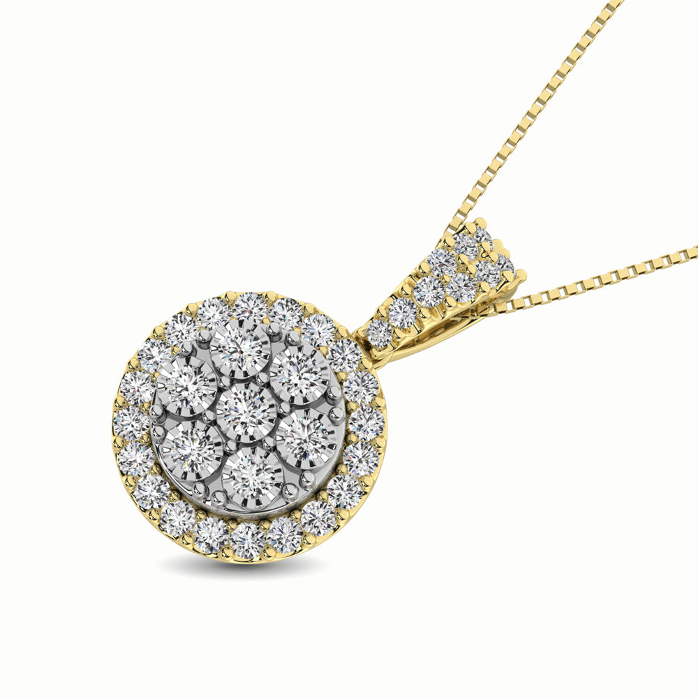 10K Two Tone 1/2 Ct.Tw. Diamond Pendant