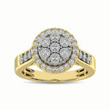 10K Two Tone 1/2 Ct.Tw. Diamond Cluster Ring