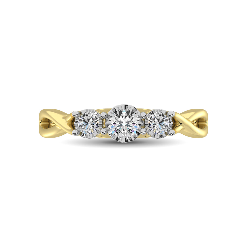 10K Yellow Gold 1/5 Ct.Tw. Diamond Three Stone Ring