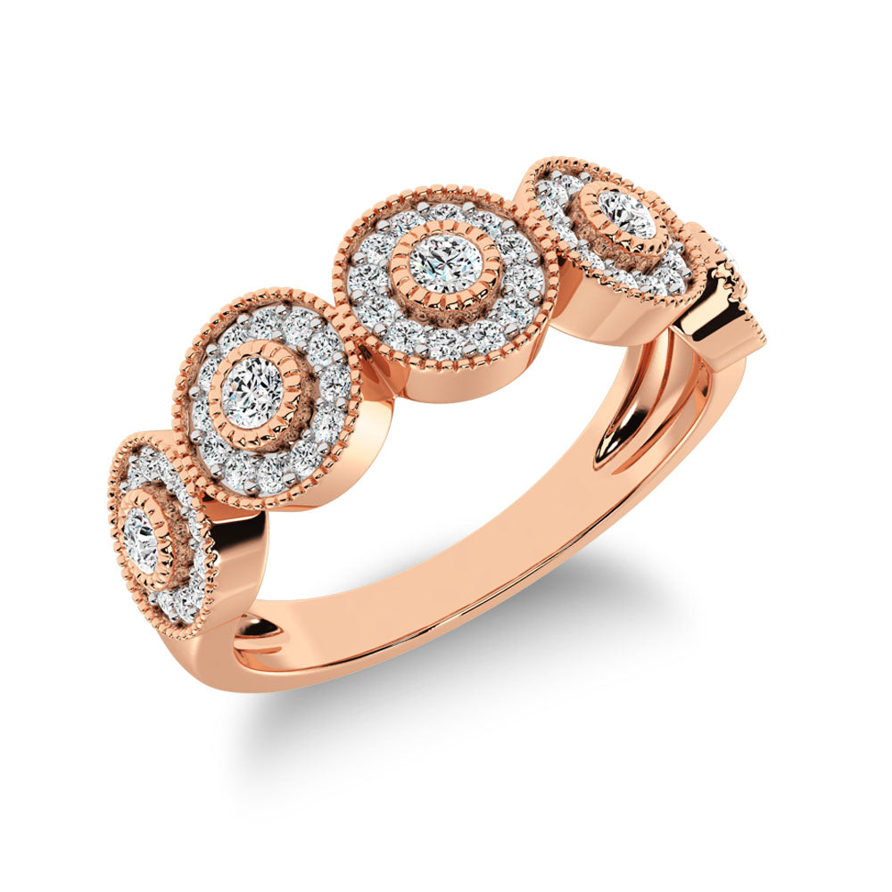 10K Rose Gold 2/5 Ct.Tw. Diamond Fashion Ring With Milgrain Detail