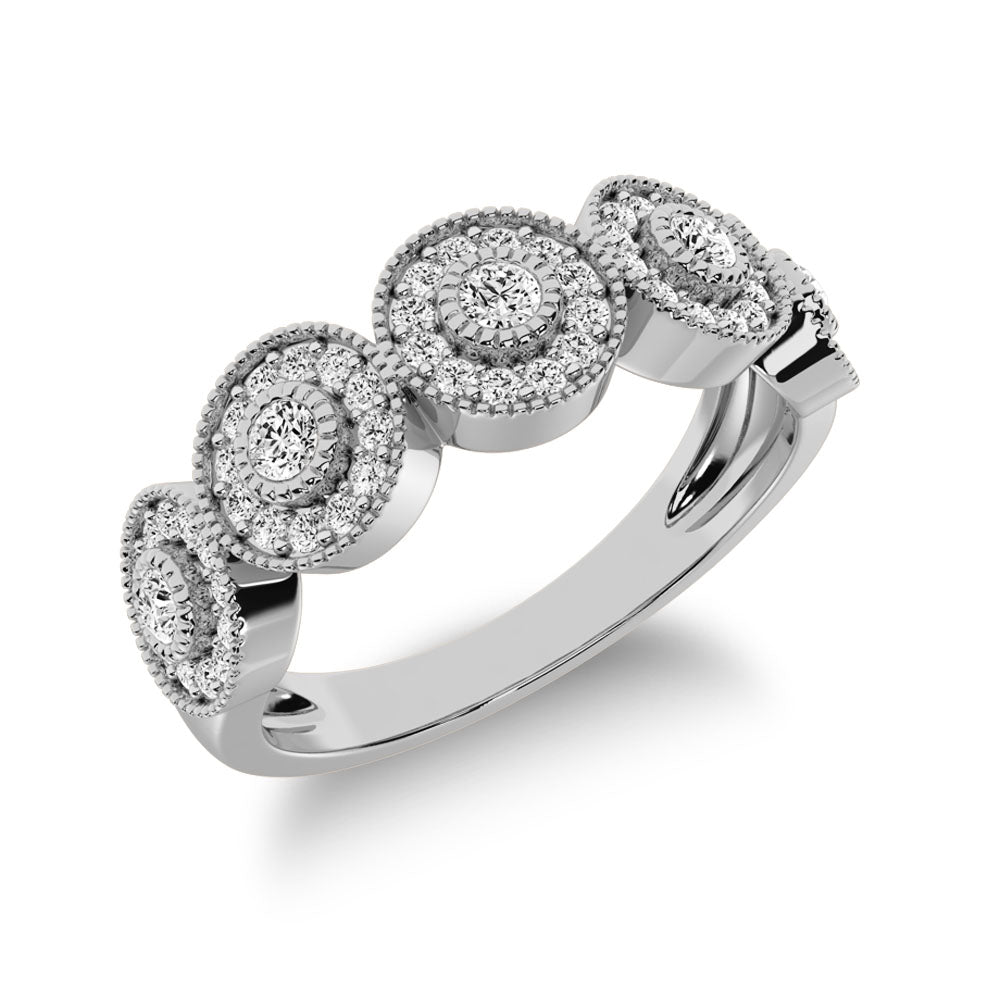 10K White Gold 2/5 Ct.Tw. Diamond Fashion Ring With Milgrain Detail