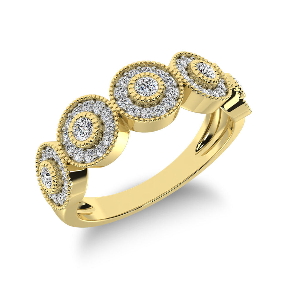 10K Yellow Gold 2/5 Ct.Tw. Diamond Fashion Ring With Milgrain Detail
