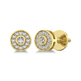 10K Yellow Gold 1/6 Ct.Tw. Diamond Round Shape Stud Earrings