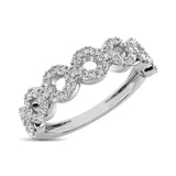 14K White Gold 1/3 Ct.Tw. Diamond 7 Station Stackable Band