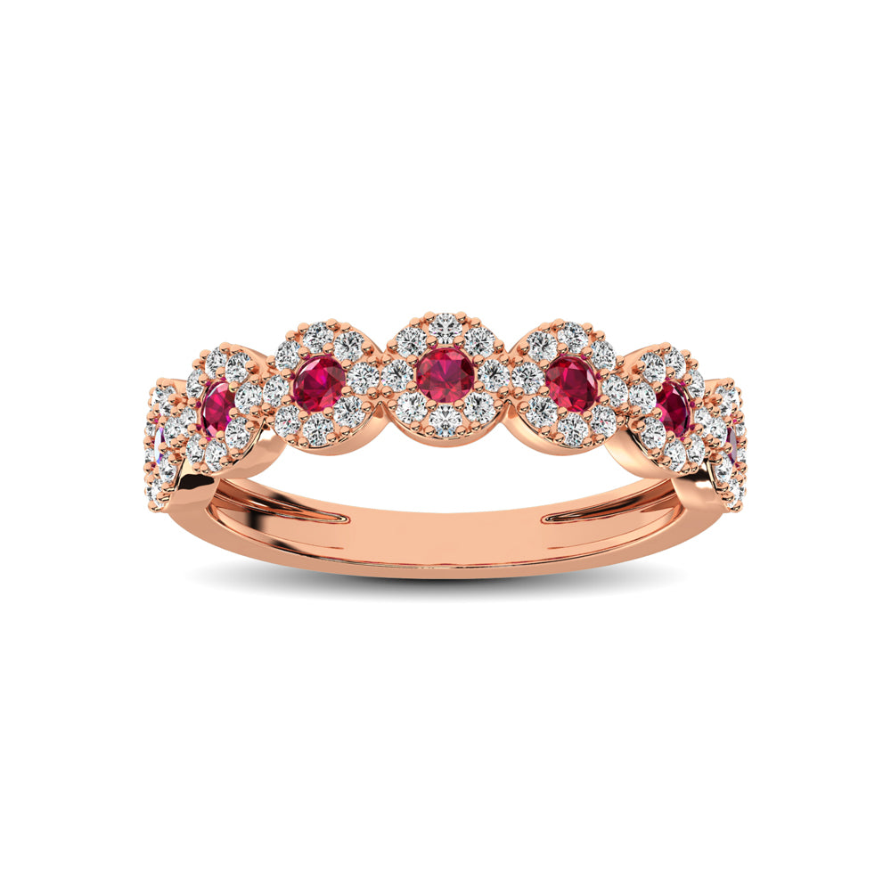 14K Rose Gold 5/8 Ct.Tw. Diamond & Ruby Stackable Band