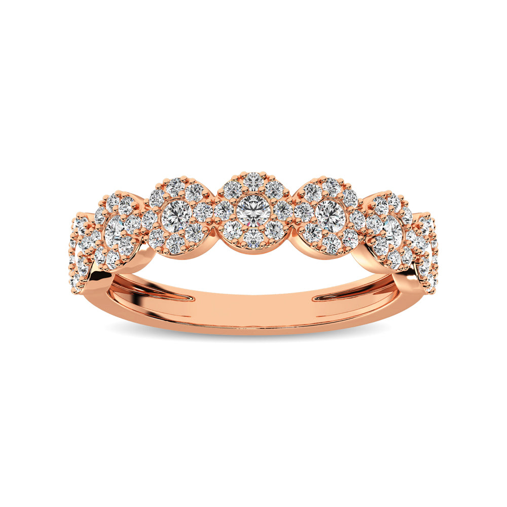 14K Rose Gold 5/8 Ct.Tw. Diamond Round Frame Stackable Band