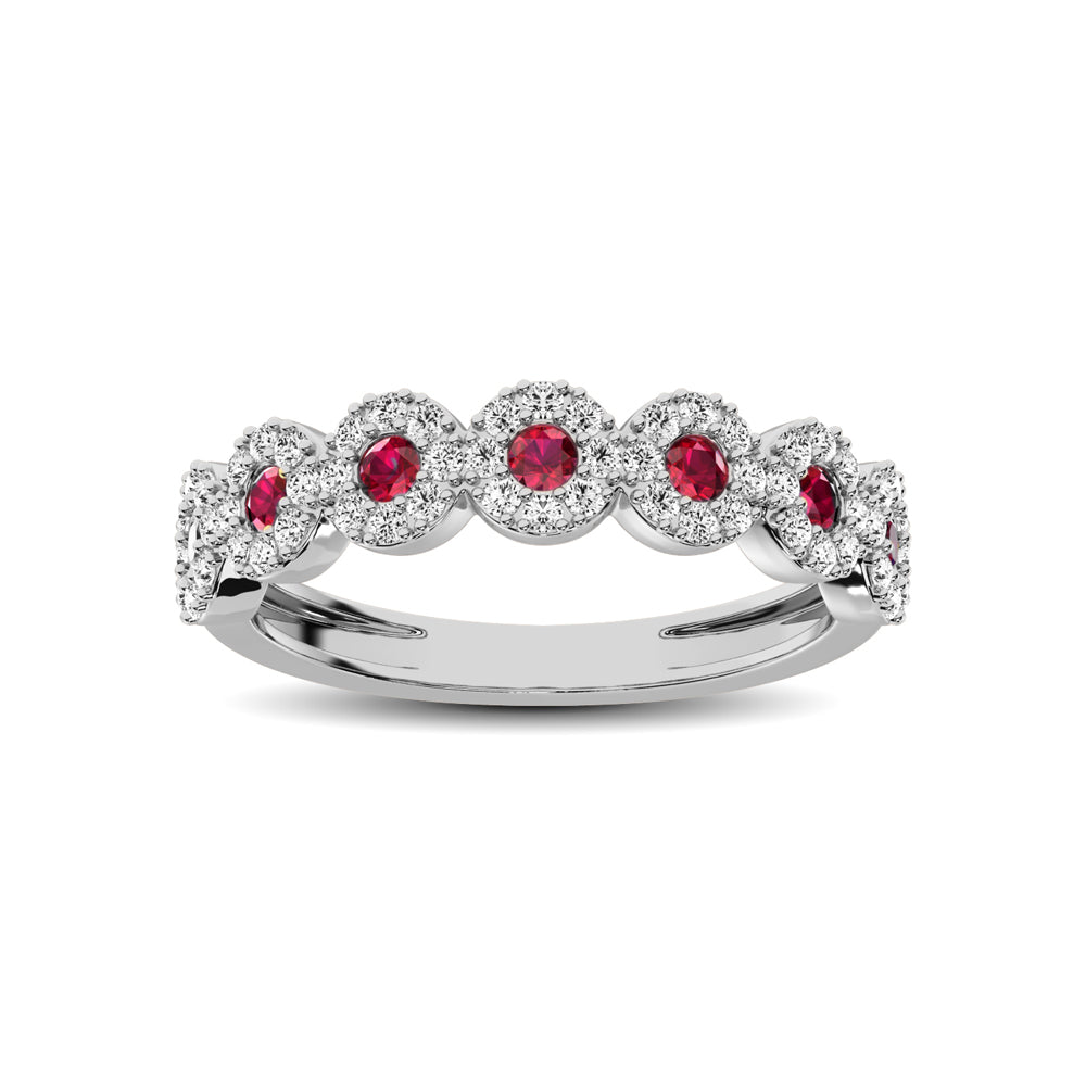 14K White Gold 5/8 Ct.Tw. Diamond & Ruby Stackable Band
