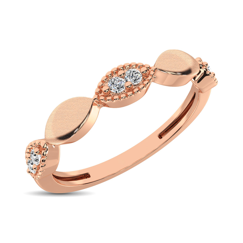 14K Rose Gold 1/10 Ct.Tw. Diamond Marquise Shape Stackable Band