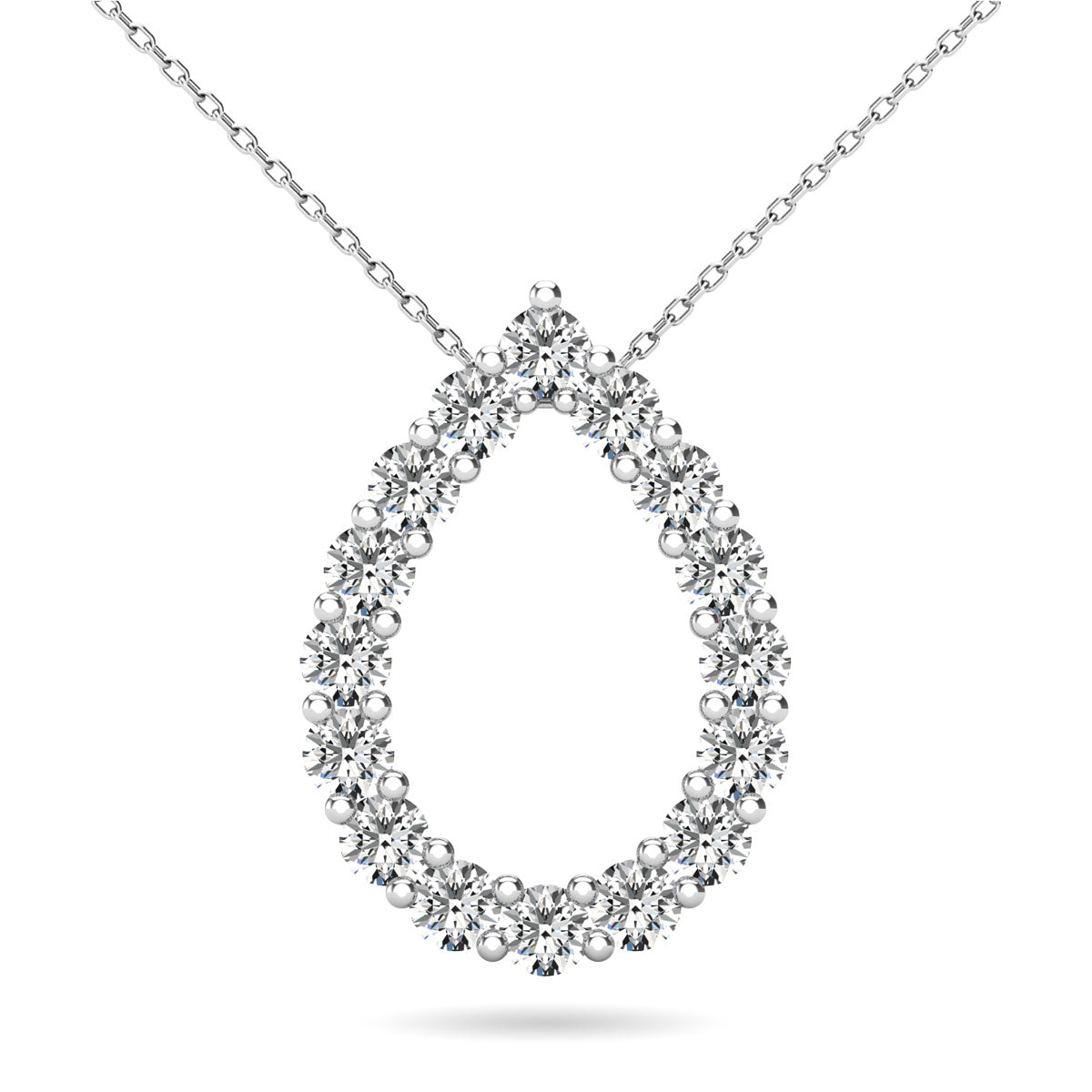 14K White Gold 3/8 Ct.Tw. Diamond Tear Drop Pendant