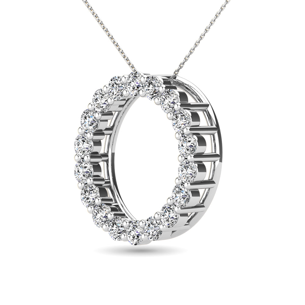 14K White Gold 2/5 Ct.Tw. Diamond Circle Pendant