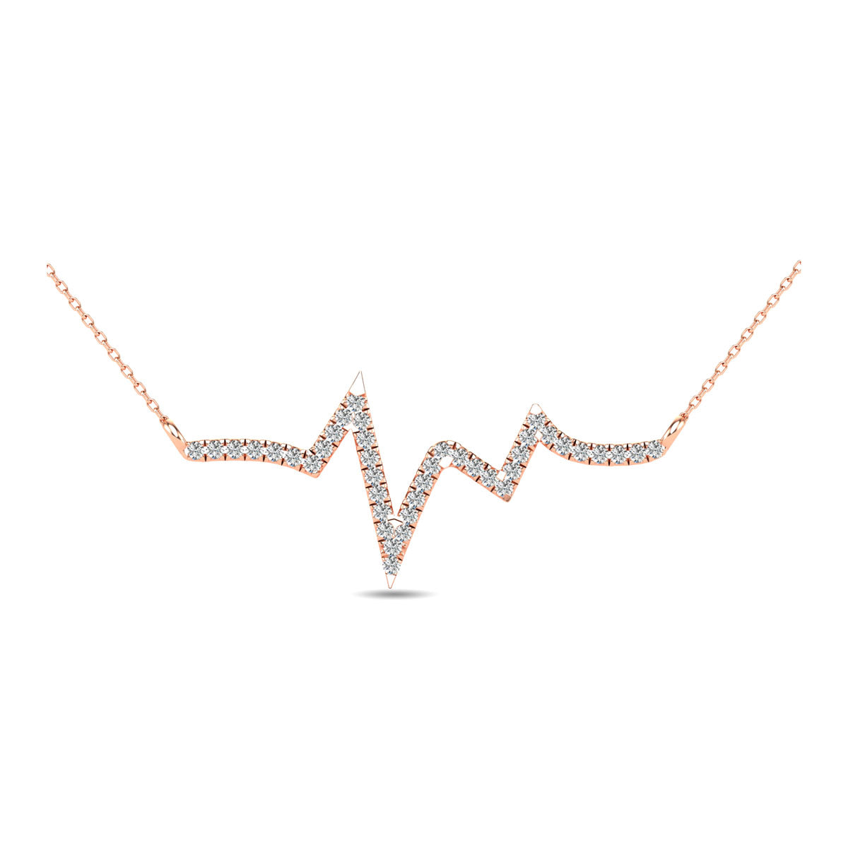 10K Rose Gold 1/6 Ct.Tw. Diamond Heart Necklace