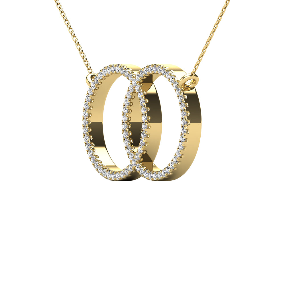 10K Yellow Gold 1/5 Ct.Tw. Diamond Circle Necklace