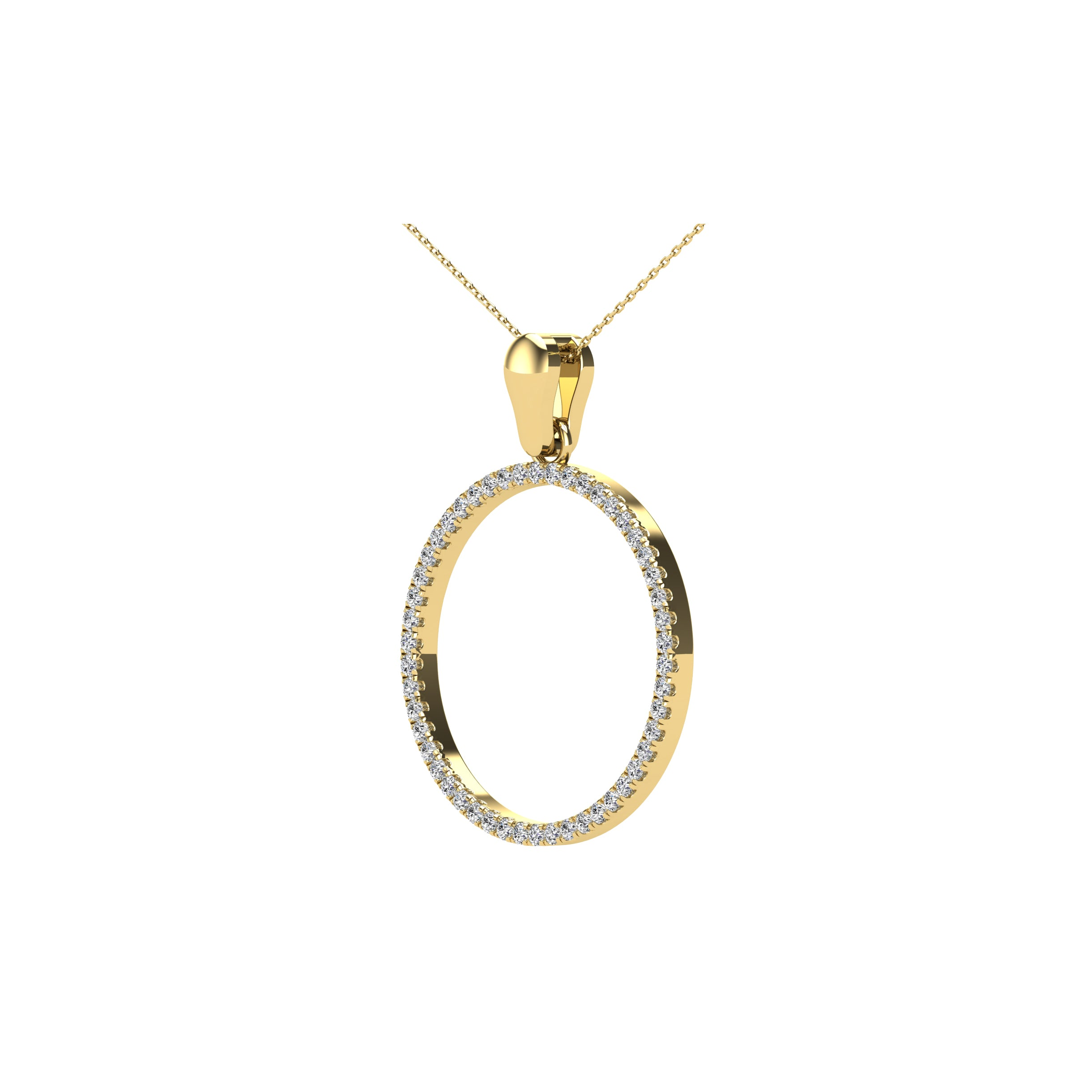 10K Yellow Gold 1/6 Ct.Tw. Diamond Circle Pendant