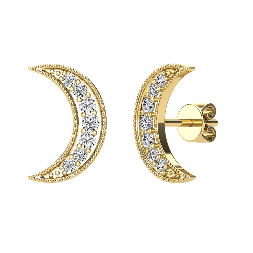 Diamond 1/6 Ct.Tw. Crescent Moon Earrings in 10K Yellow Gold