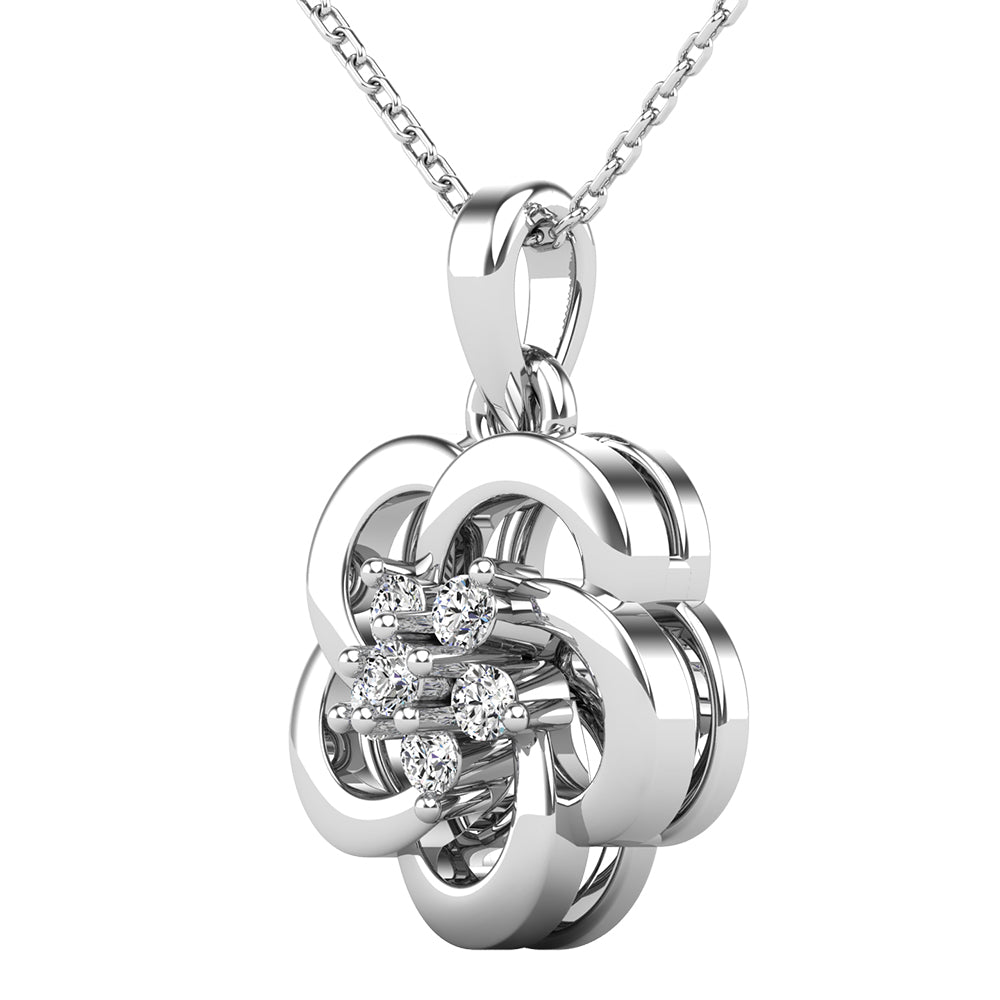 Open Flower Diamond 1/10 Ct.Tw. Pendant