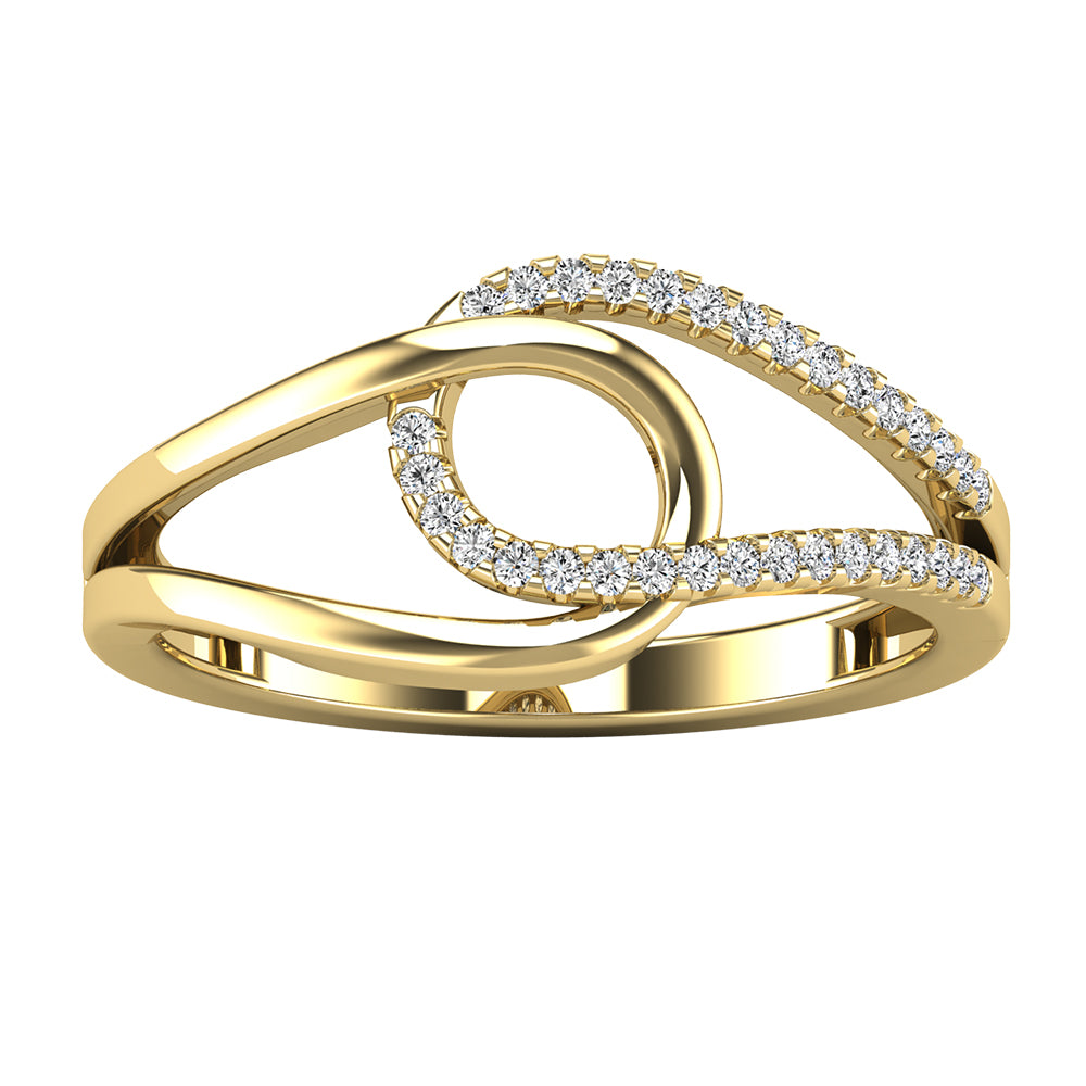 Diamond 1/10 Ctw Abstract Loop Ring in 10K Yellow Gold
