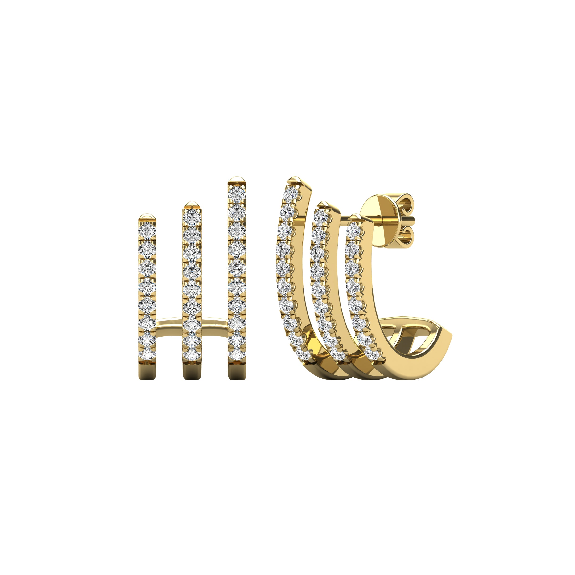 14K Yellow Gold 1/4 Ct.Tw. Diamond Fashion Earrings