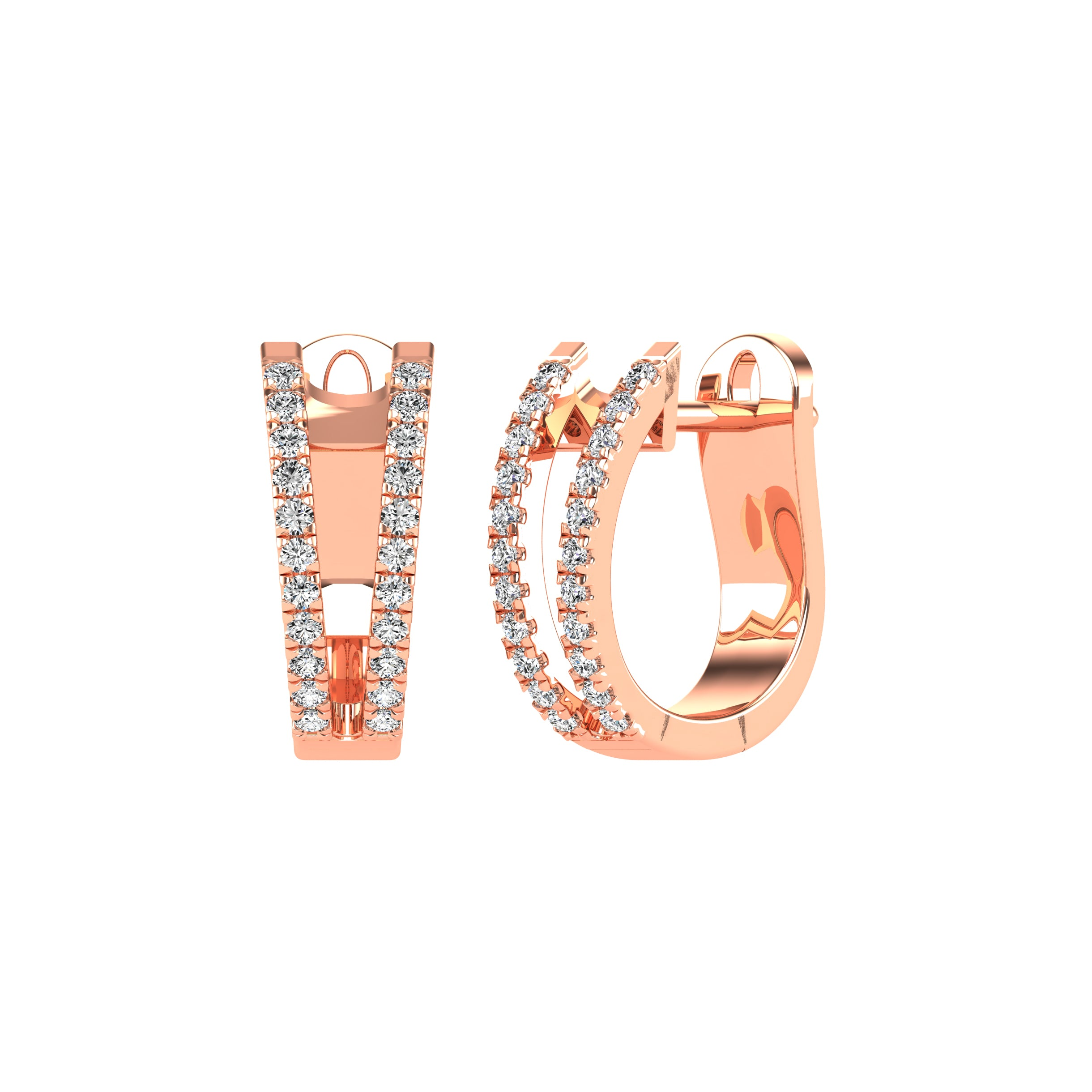 14K Rose Gold 1/4 Ct.Tw. Diamond Huggies Earrings