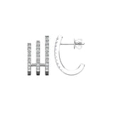 14K White Gold 1/4 Ct.Tw. Diamond  Huggies Earrings