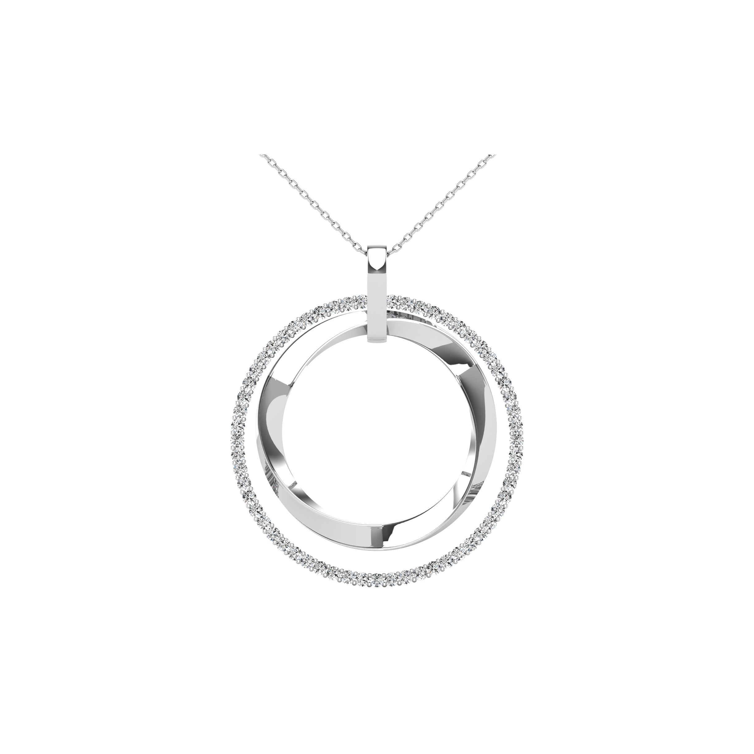14K White Gold 1/2 Ct.Tw. Diamond Double Frame Pendant